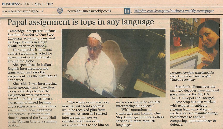 Luciana Scrofani Green interpreting for Pope Francis in Vatican